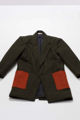 Unisex long woollen coat with contrasting patch pockets by Lanefortyfive london