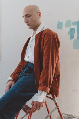 Bower Unisex buttonless cord jacket by sustainable ethical clothing brand Lanefortyfive London
